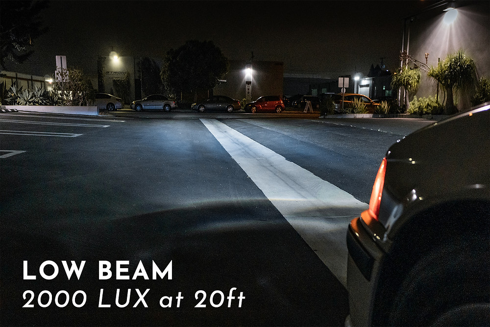 LED low beam shots of BMW E36 with Pro Package Headlight Retrofit at MDRN Retrofits