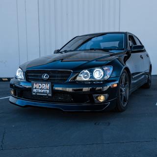 Lexus IS300 Profile Quad Switchback Angel Eyes Morimoto Projectors Headlight Retrofit by MDRN Retrofits in Orange County, CA