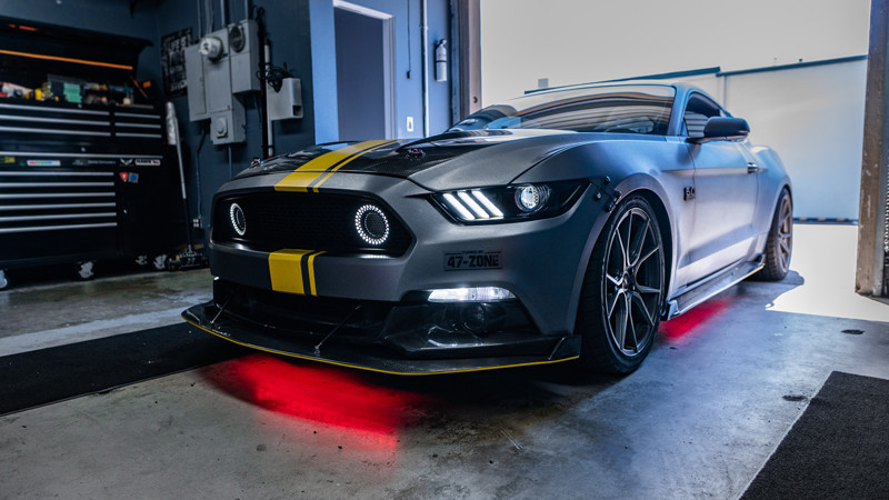 s550 ford mustang gt with diode dynamics headlights custom and ledglow red underbody at mdrn retrofits