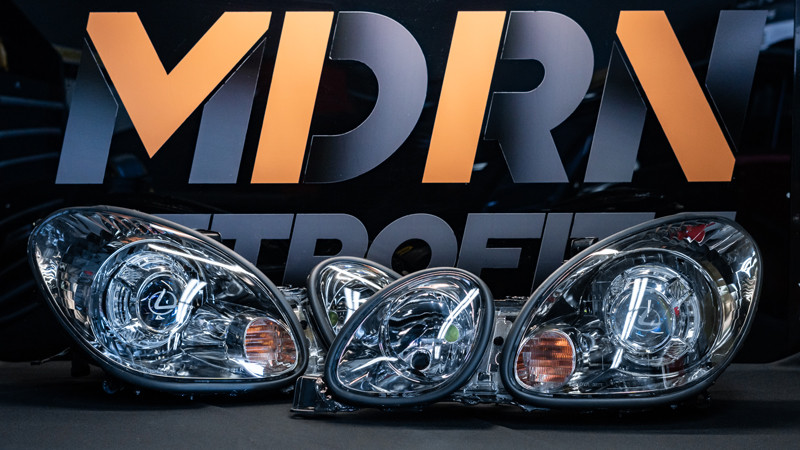 Pro package headlight retrofit completed for a GS300 on the bench at MDRN Retrofits