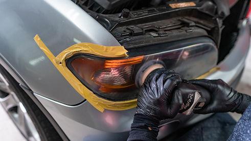 BMW X5 Headlight Restoration Service being completed at MDRN Retrofits