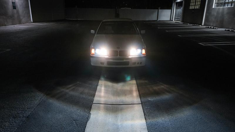 BMW E36 with quad high beams Headlight Retrofit at MDRN Retrofits