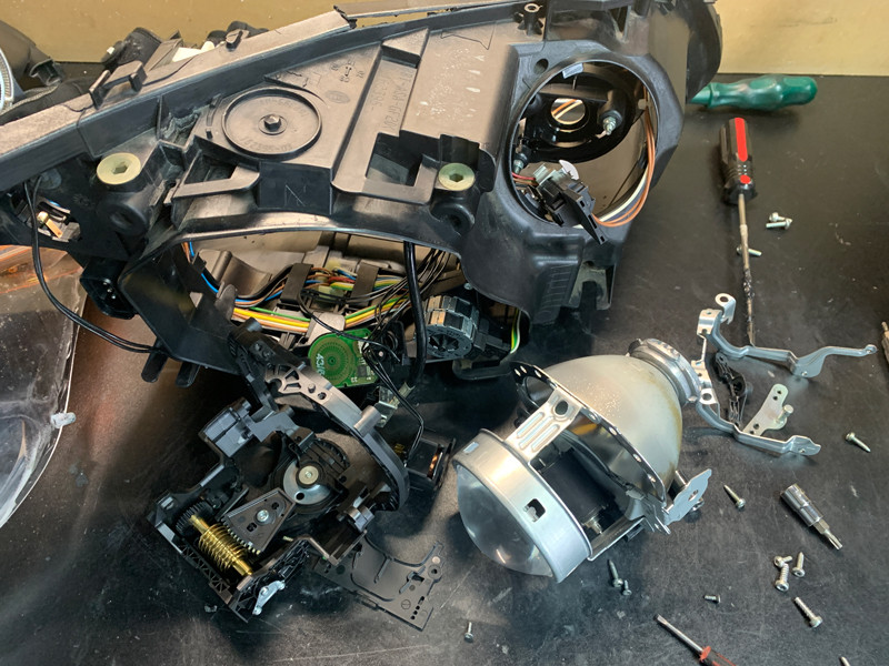 BMW E60 M5 AFS cradle and projector being upgraded at MDRN retrofits
