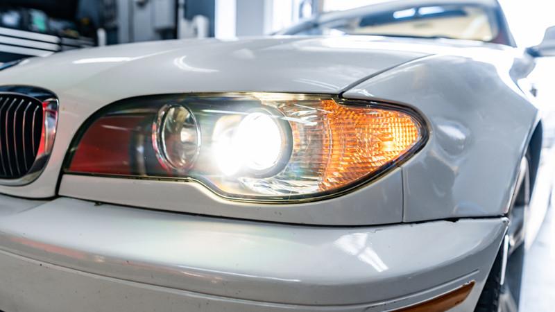 2004 BMW E46 headlights turned on after restoration at mdrn retrofits