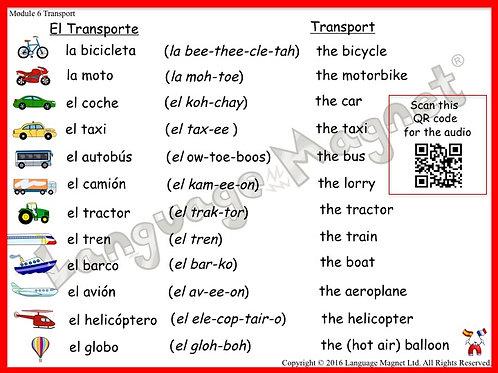 Spanish Transport Audio Vocabulary Sheet