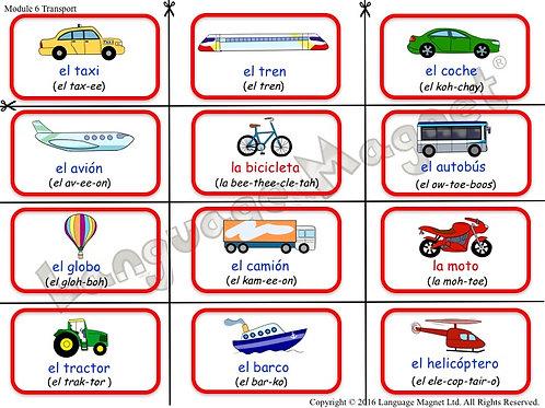 Spanish Transport Bingo Game