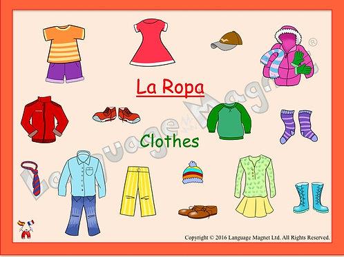 Spanish Clothes Presentation, Audio Sheet and Bingo Game