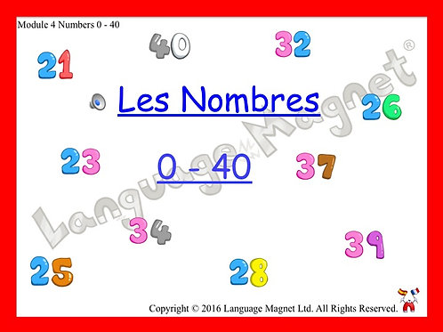 French Numbers 0 to 40 Presentation, Display Cards, Reference Sheet & Bingo Grid