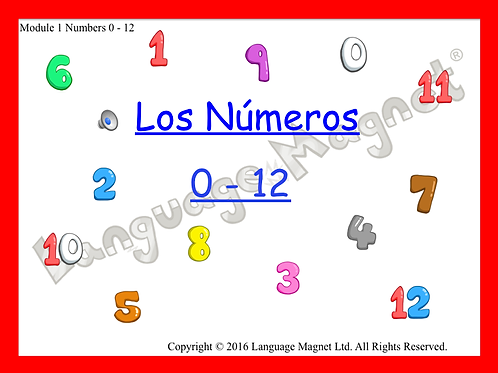 Spanish Numbers 0-12 Presentation, Display Cards, Audio Sheet and Bingo Game