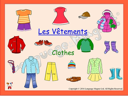 French Clothes Presentation, Audio Sheet and Bingo Game