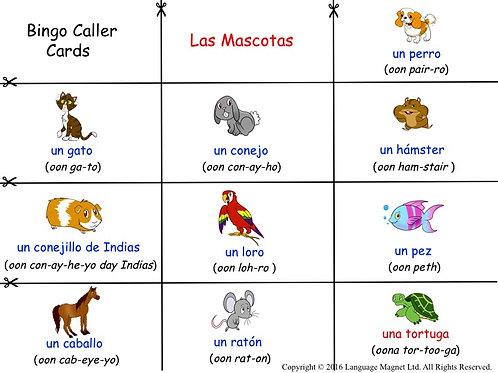 Spanish Pets Bingo Game