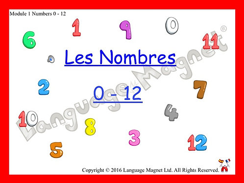 French Numbers 0-12 Presentation, Display Cards, Audio Sheet & Bingo Game