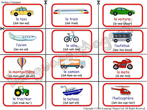 French Transport Bingo Game