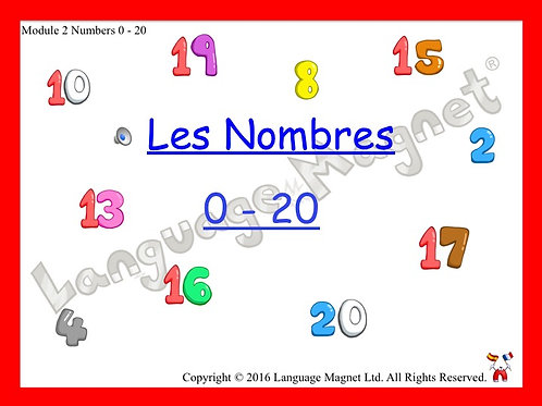 French Numbers 0 to 20 Presentation, Display Cards, Reference Sheet & Bingo Game
