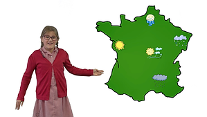 Year 4 girl giving a French weather forecast from memory