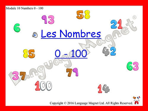 French Numbers 0 to 100 Presentation, Display Cards, Reference Sheet & Bingo