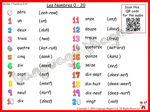 French Numbers 0 to 20 Audio Vocabulary Sheet