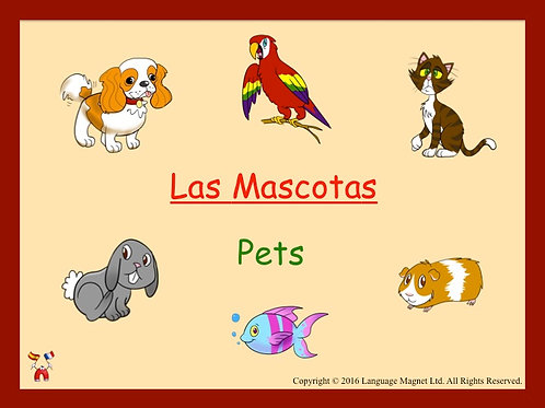 Spanish Pets Presentation, Audio Sheet and Bingo Game