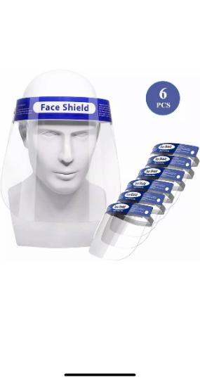 6 PCS - Reusable Clear Face Shield Mask, Face Mask, Visor Mask