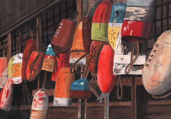 mills-Tomales Bay Buoys-watercolor-9x14.