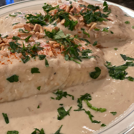 "Samke Haara or ""Spicy Fish"" - Traditional Lebanese Fish with Spicy Tahini sauce"