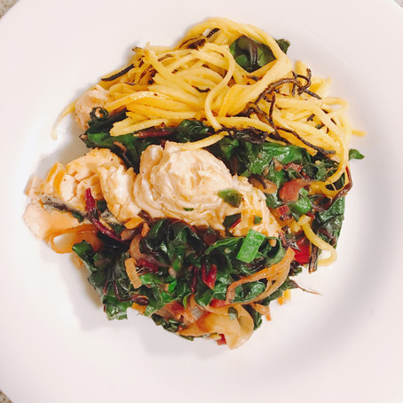 Leek & Ginger Marinade Salmon with Swiss Chard and Butternut Noodles