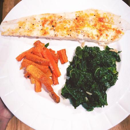 Baked Flounder with roasted carrots and sautéed kale