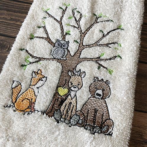 Whimsical Woodland Animals Hand Towel