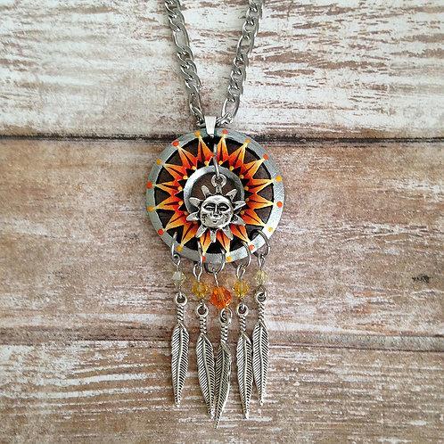 Sun Charm Dream Catcher Pendant Necklace