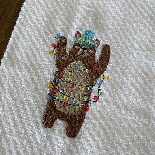 Christmas Lights Brown Bear Hand Towel