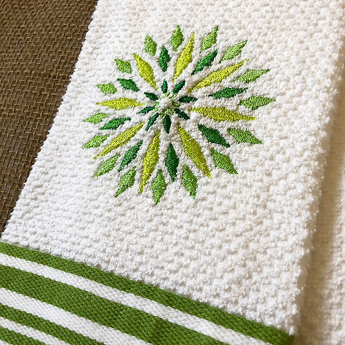 Multi-Green Mandala Hand Towel