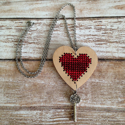 Deep Red Heart And Key Pendant Necklace