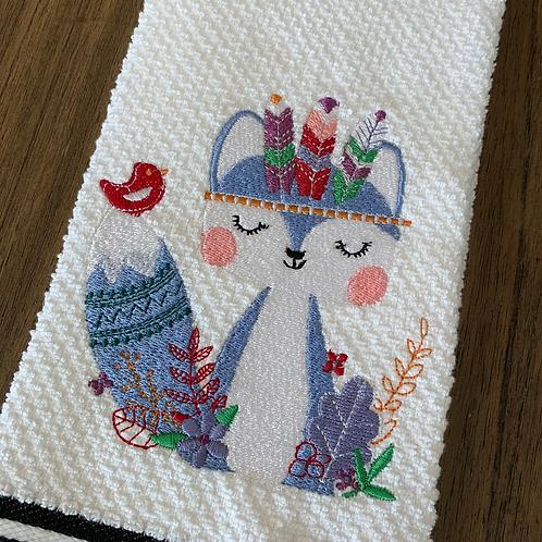 Sweet Bohemian Purple Fox Hand Towel
