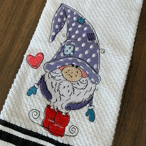 Sweet Gnome in Red Boots and Purple Hat Hand Towel