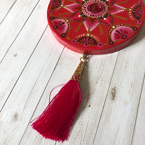 Red Mandala Hand Painted Ornament