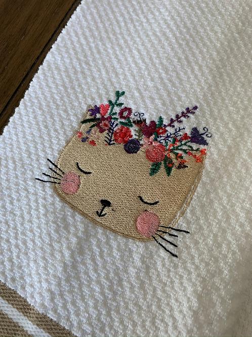 Flowery Cat Head Hand Towel