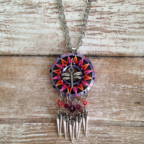 Dragonfly Charm Dream Catcher Pendant Necklace