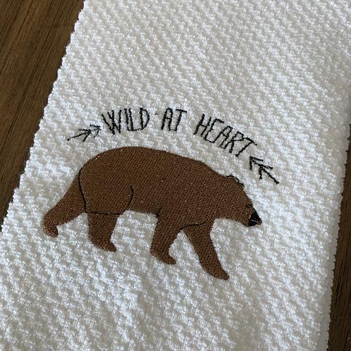 Brown Bear Wild At Heart Hand Towel