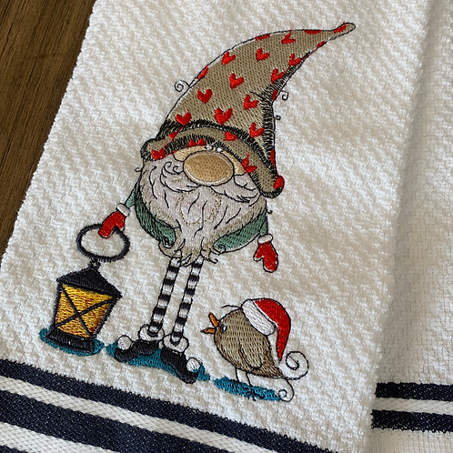 Sweet Gnome with Bird and Lantern Hand Towel