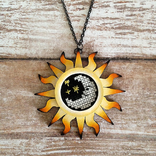 Half-Moon Sunburst Pendant Necklace