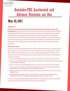 Reminder-PHE Accelerated and Advance Payments are Due