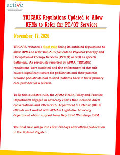 TRICARE Regulations Updated to Allow DPMs to Refer for PT/OT Services