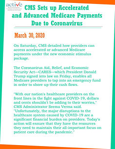 CMS Sets up Accelerated and Advanced Medicare Payments Due to Coronavirus