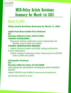 MCR-Policy Article Revisions Summary for March 1st 2021