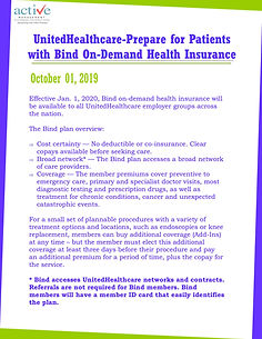 United Healthcare-Prepare for Patients with Bind On-Demand Health Insurance