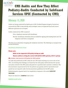 CMS Audits and How They Affect Podiatry-Audits Conducted by SafeGuard Services UPIC