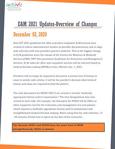 E&M 2021 Updates-Overview of Changes