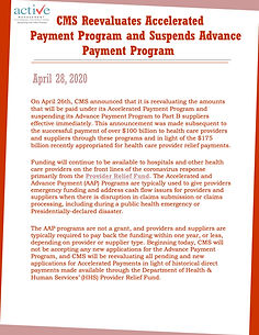 CMS Reevaluates Accelerated Payment Program and Suspends Advance Payment Program