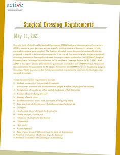 Surgical Dressing Requirements
