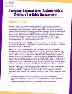 Accepting Payment from Patients with a Medicare Set-Aside Arrangement